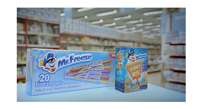 Still of the 2015 Mr Freeze TV Advert showing the Mr Freeze packaging