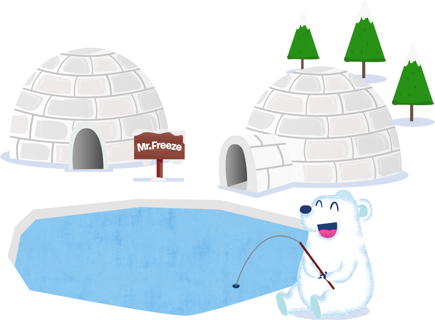 A bear fishing outside some igloos