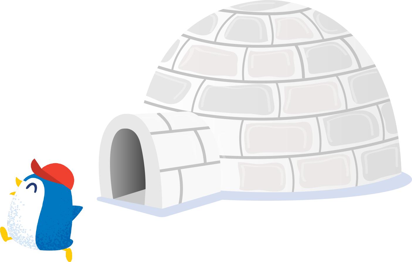 Penguin outside of an igloo